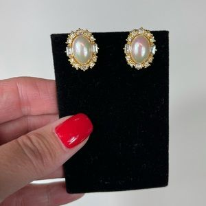 Vintage Christian Dior gold & pink pearl earrings